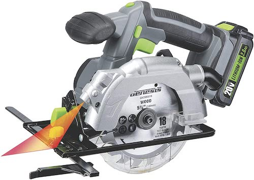 """Genesis GLCS2055A 20V Cordless Lithium-Ion Battery-Powered 5 1/2"""" Circular Saw with Built-In Laser Guide, Electric Brake"""