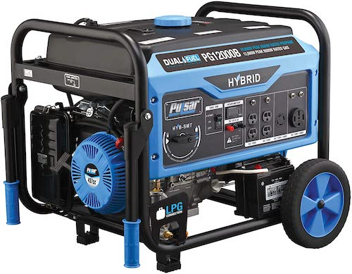 Pulsar 12,000W Dual Fuel Portable Generator with Electric Start and Switch & Go Technology